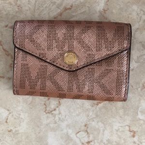 Metallic rose gold michael kors card wallet
